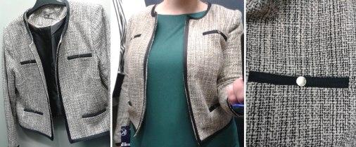 Une très jolie veste en tweed enduit