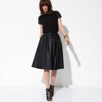 Jupe mi-longue imitation cuir femme 3 suisses collection