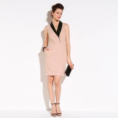 Robe smocking stretch détails faux cuir femme