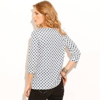 T-shirt imprimé minimaliste col rond manches 3-4 femme VOTRE MODE
