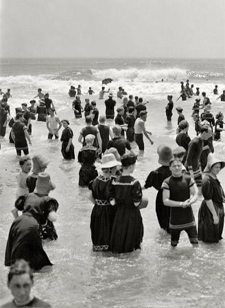 The Jersey Shore circa 1910. Bathers at Atlantic City.
