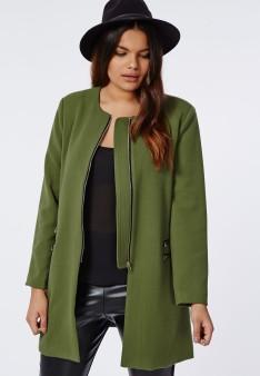 Manteau sans col vert kaki 56€
