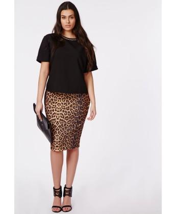 jupe mi-longue léopard 26€